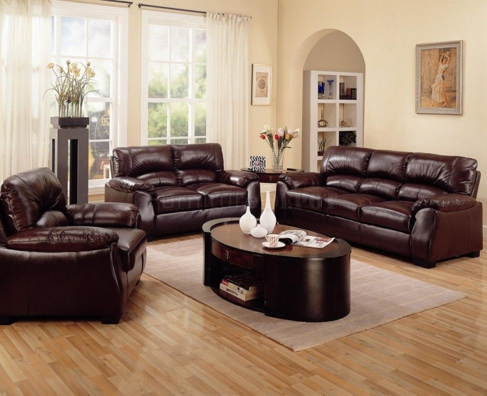 Feeling Convenience With Soft Brown Sofa And Wooden Floor Living Room White Wall Color Support