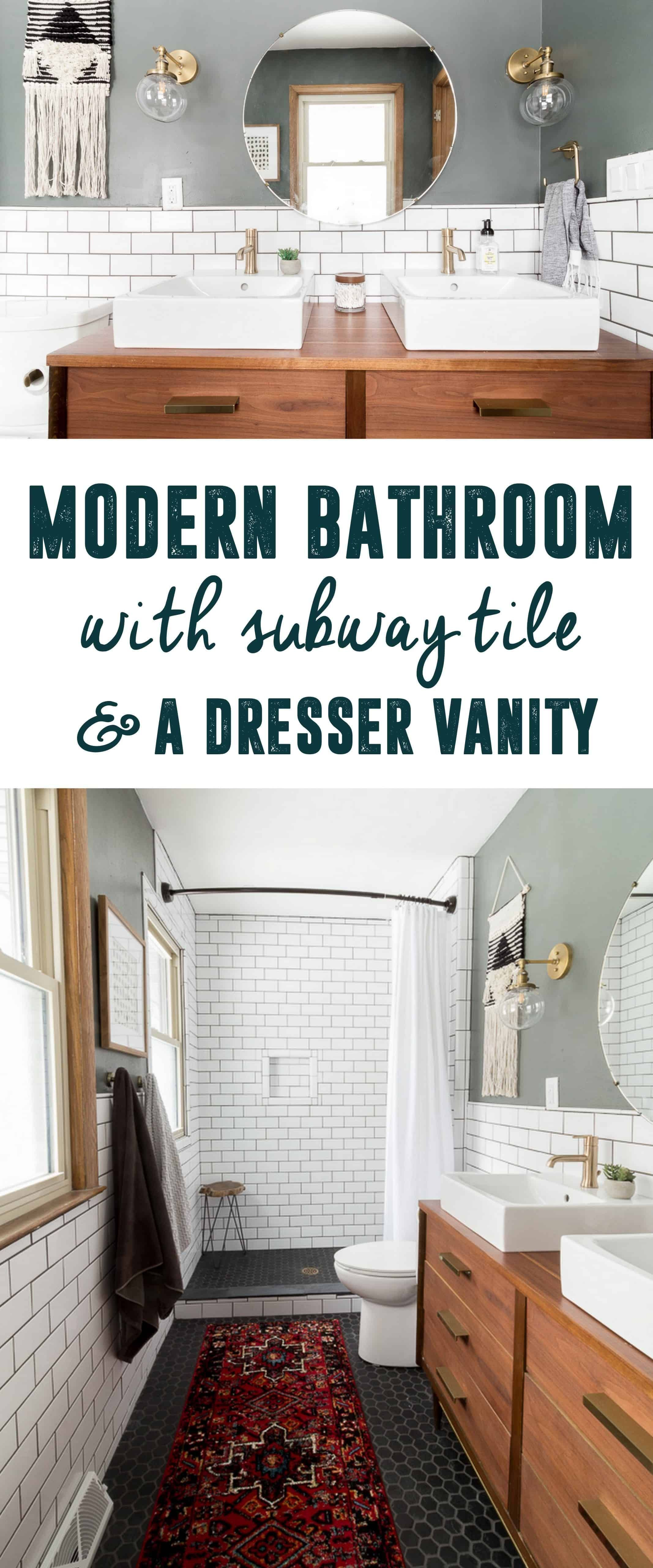 Modern Bathroom with Subway Tile, Bathroom with Dresser as ...