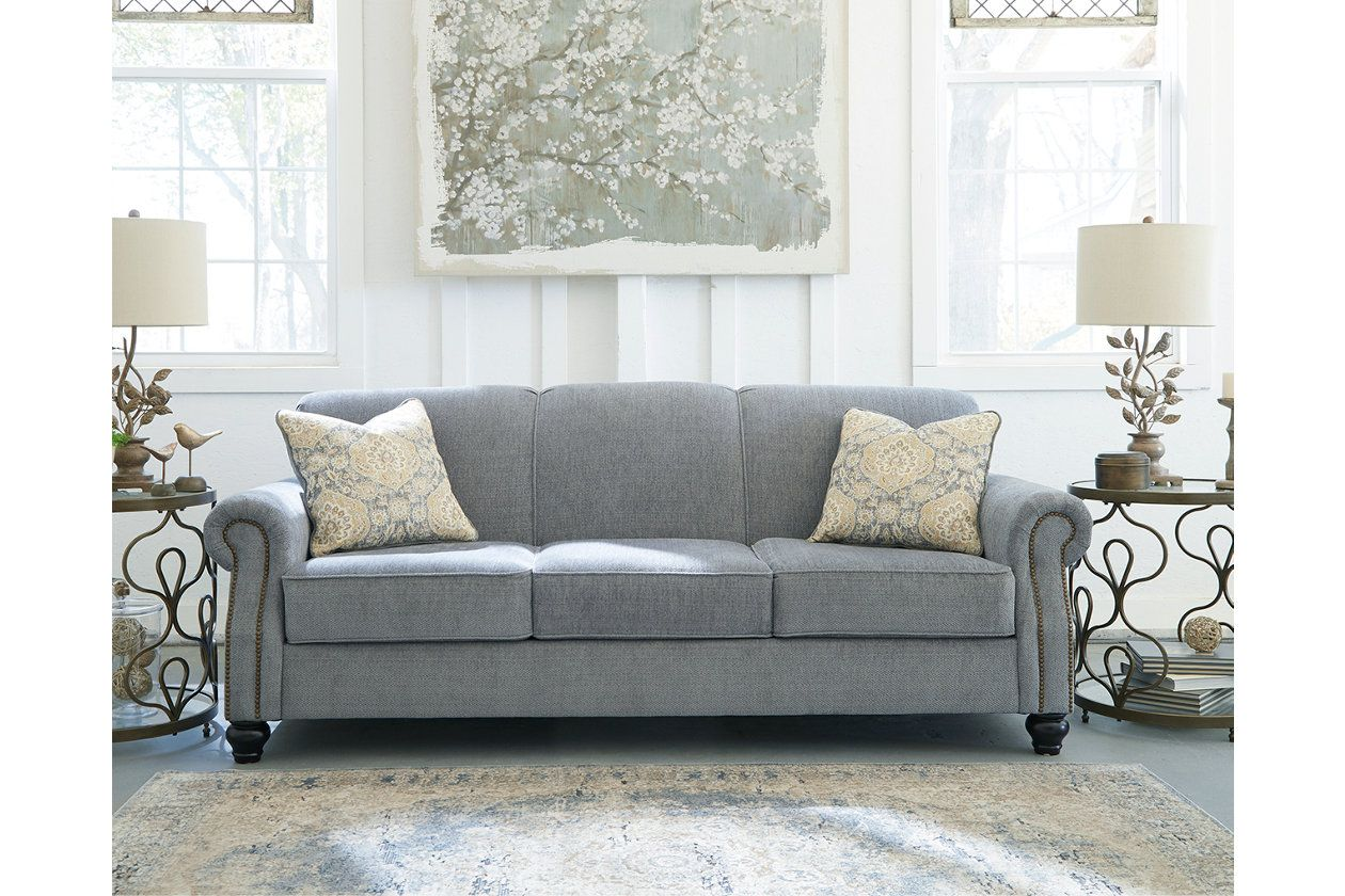 Aramore Sofa Ashley Furniture Homestore Gray Blue Nailhead 548 91 Inch Ashley Furniture Furniture Couch Furniture