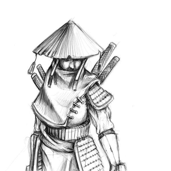 самурай арты карандашом всегда сажают открытый