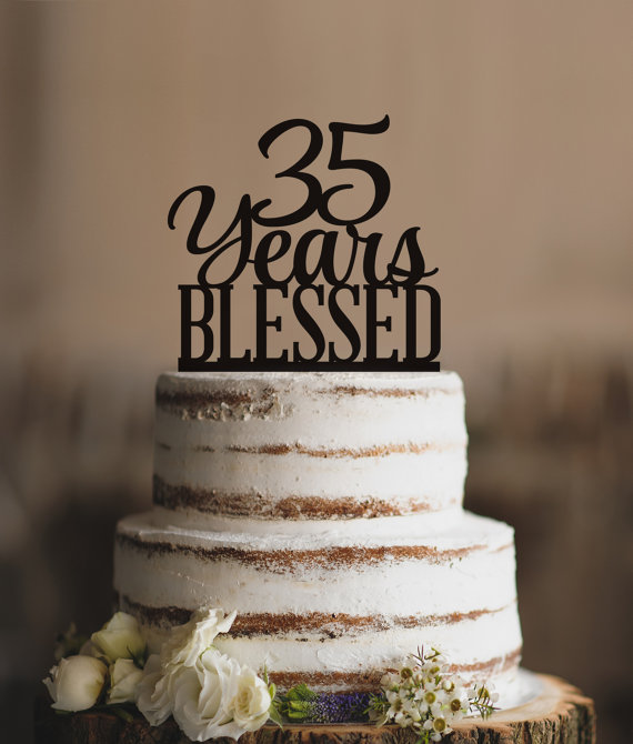 35 Years Blessed Cake Topper Classy 35th Birthday By CFWeddings