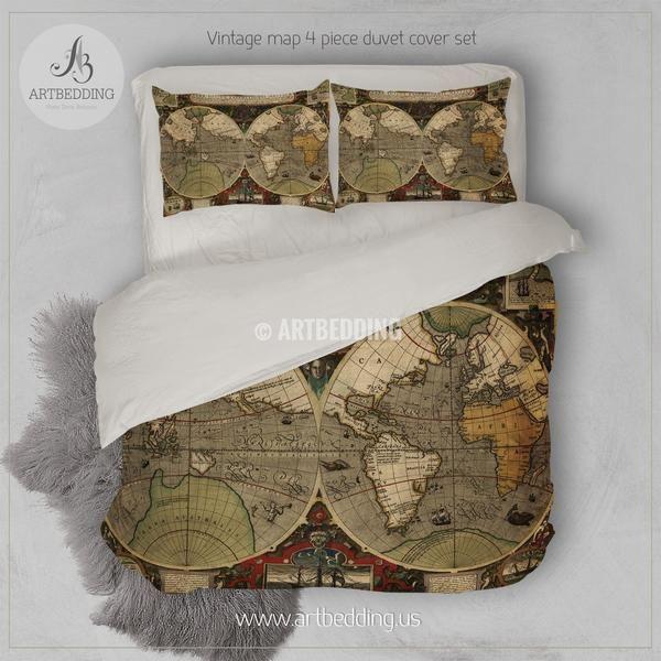 Ancient Map Of World Hemisphere Bedding Vintage Old Map Duvet Cover Set Antique Map Comforter Set Duvet Cover Sets Hotel Collection Bedding Where To Buy Bedding