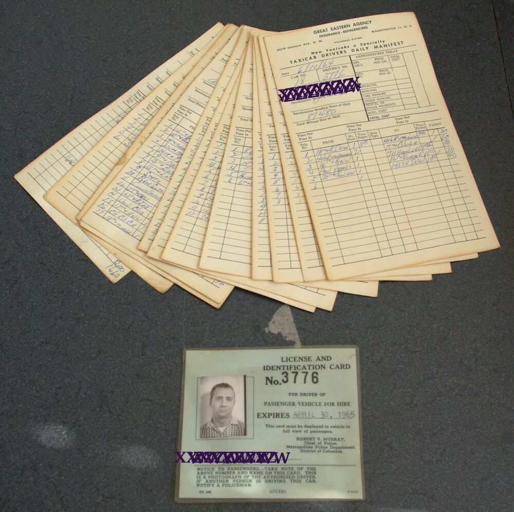 Details About Vintage Taxi Cab License Log Manifest Washington
