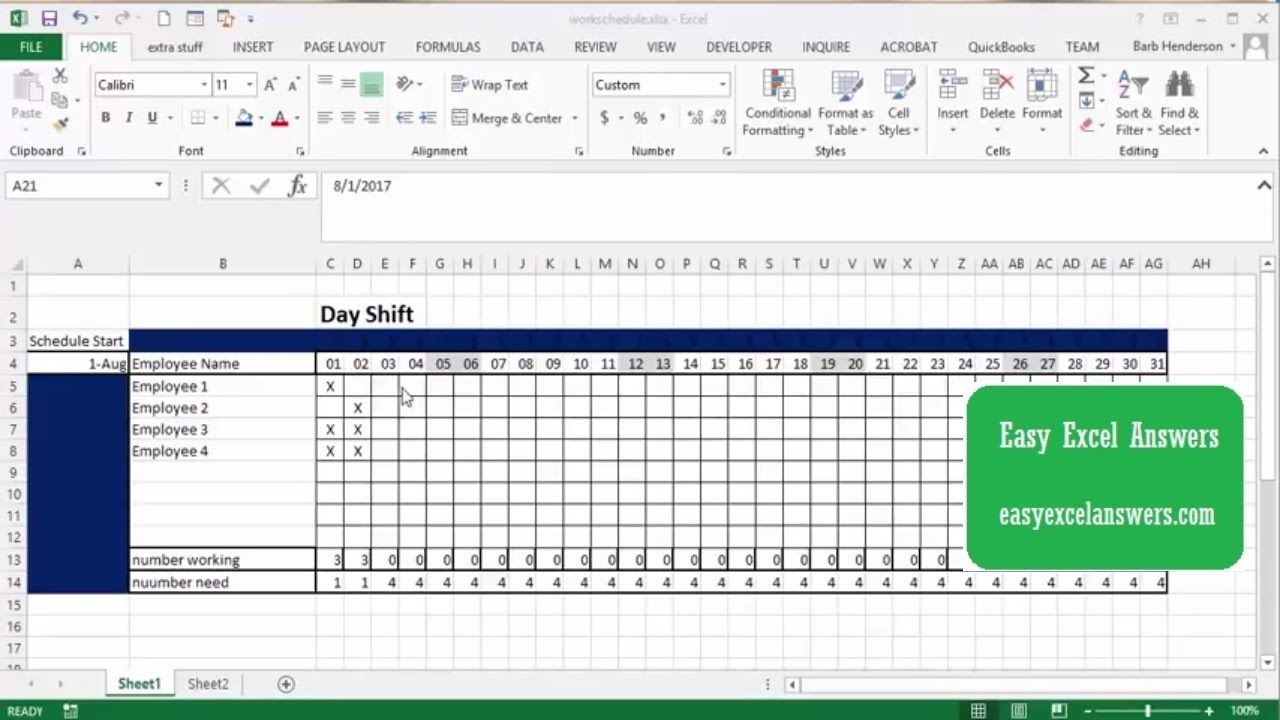 How to create a work schedule in Excel (With images