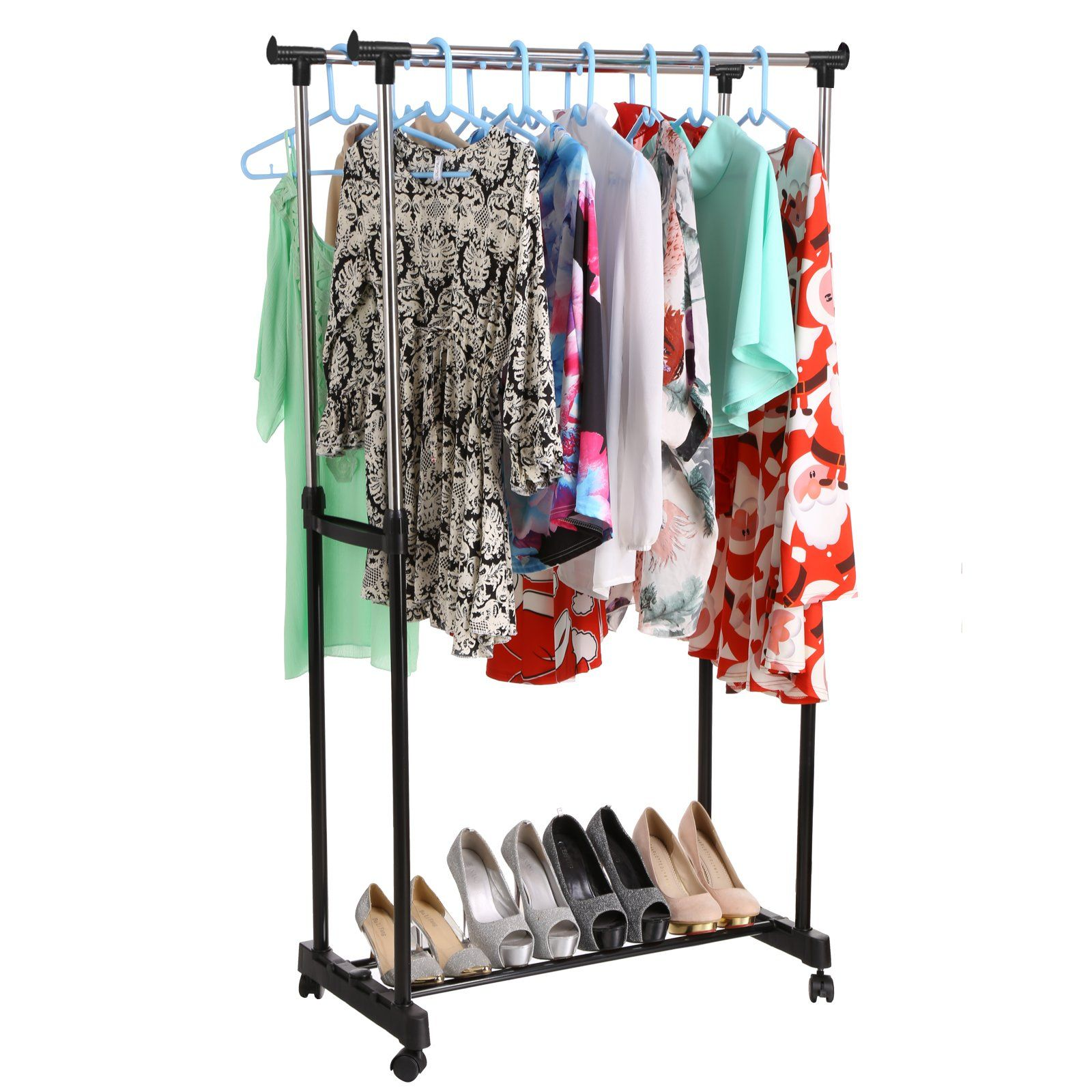 Homdox Clothes Drying Rack Heavy Duty Double Pole Rail Rod Adjustable Garment Rack Clothing Rack Outdoor Indoor Clothes Rack Hanger With 4 360 Degree Wheels