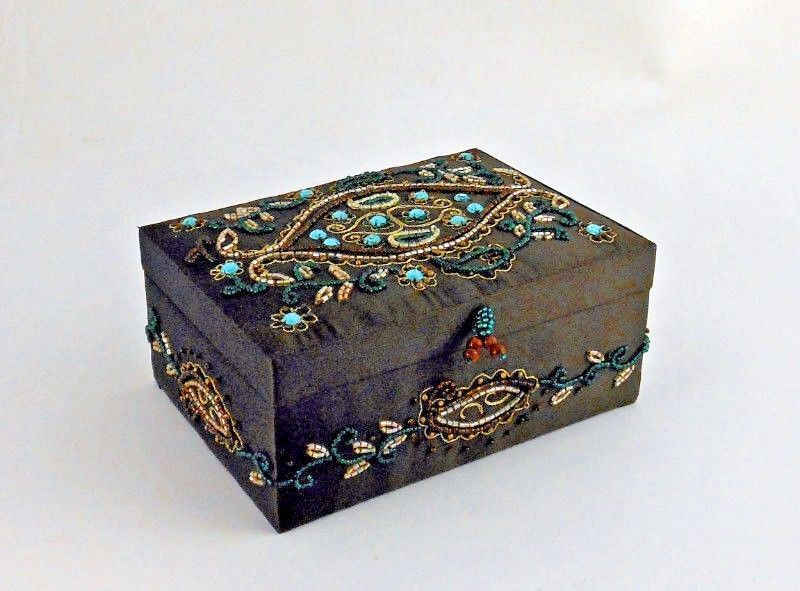 Jewelry Box Brown Satin Embroidered w Gold Thread Beads