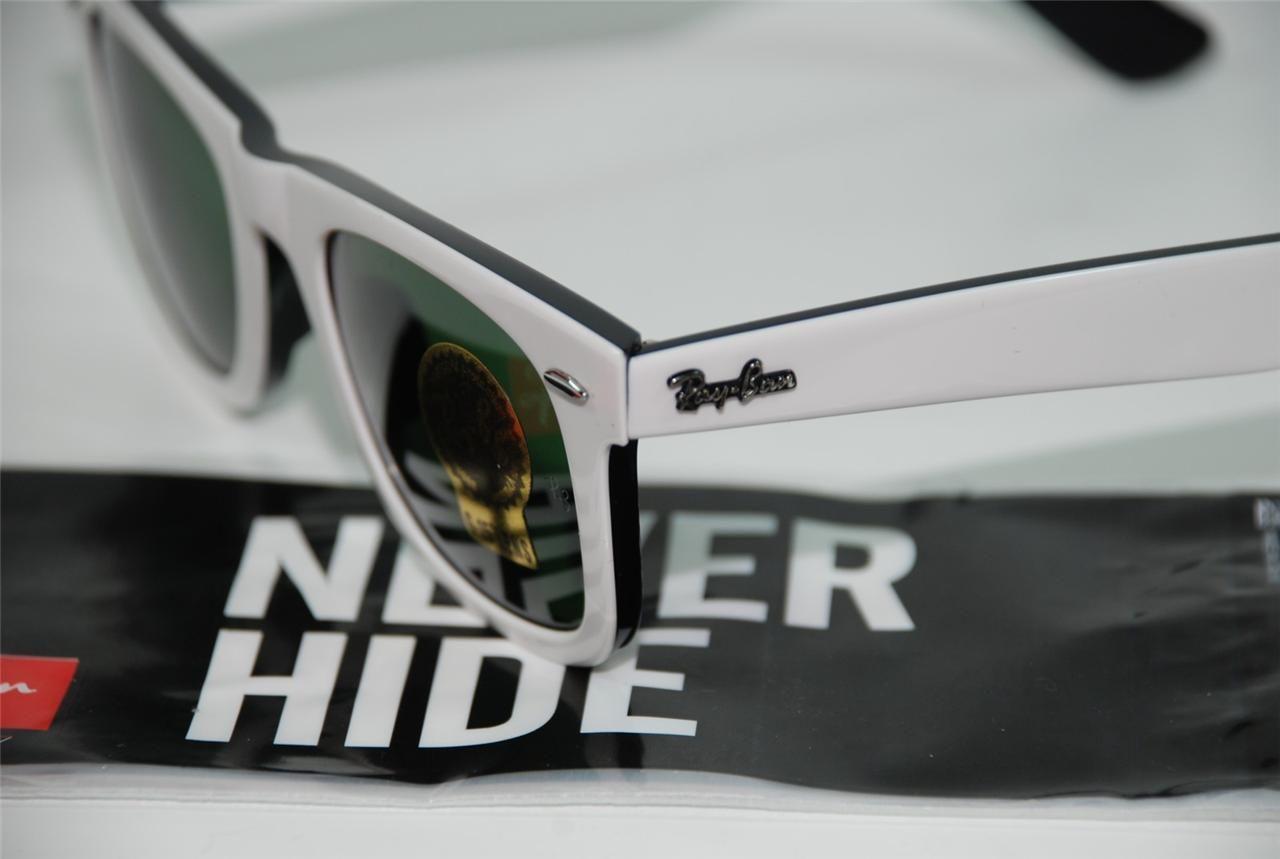 New Genuine Ray Ban 2140 956 White&Black Wayfarer Sunglasses G-15 Lens