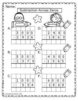 Subtraction across zeros worksheets and task cards
