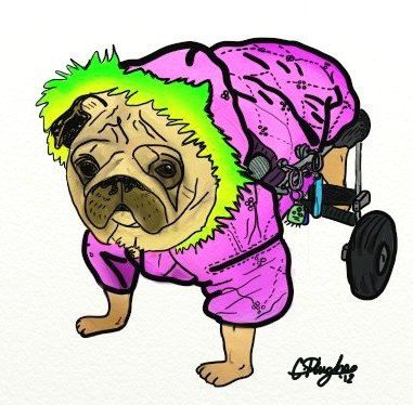 Pug on Wheels by thecharlietree on Etsy, $8.50