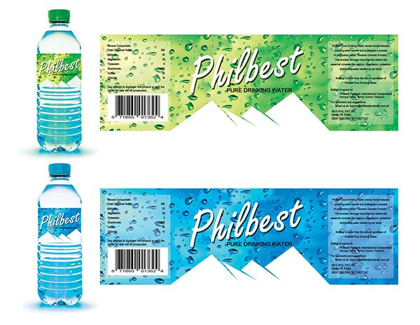 Bottle label design for a client's purified drinking water product ...
