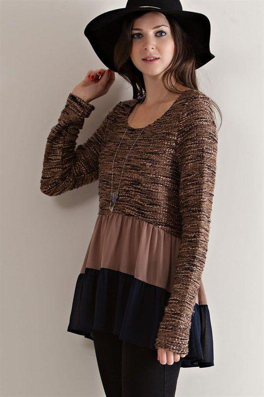 Ruffles Color Block Sweater