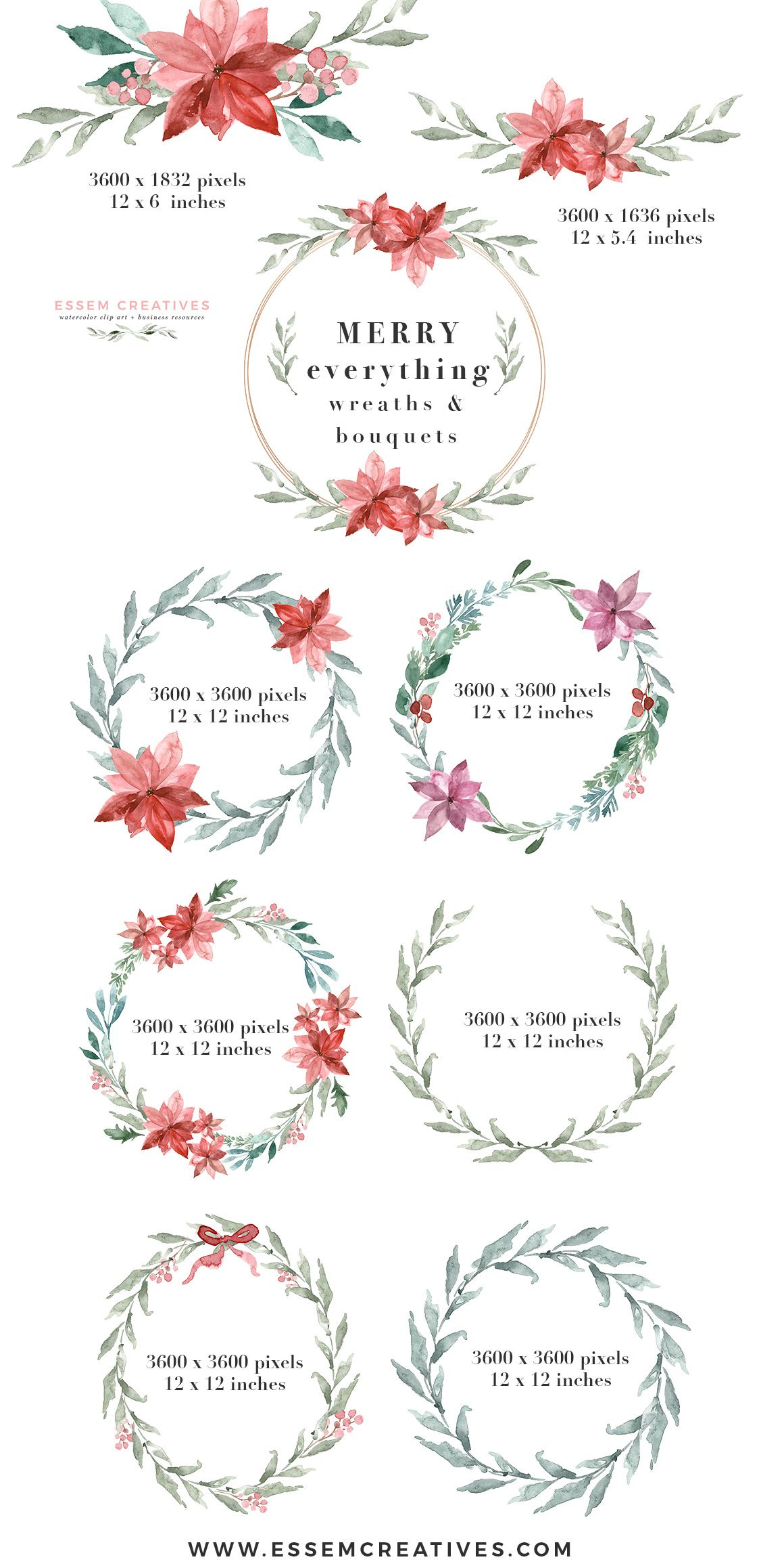 watercolor christmas card template christmas wreath clipart
