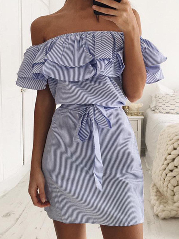 e5d4c78c38d84 Blue Striped Layered Ruffle Tie Waist Dress | Clothes | Dresses ...