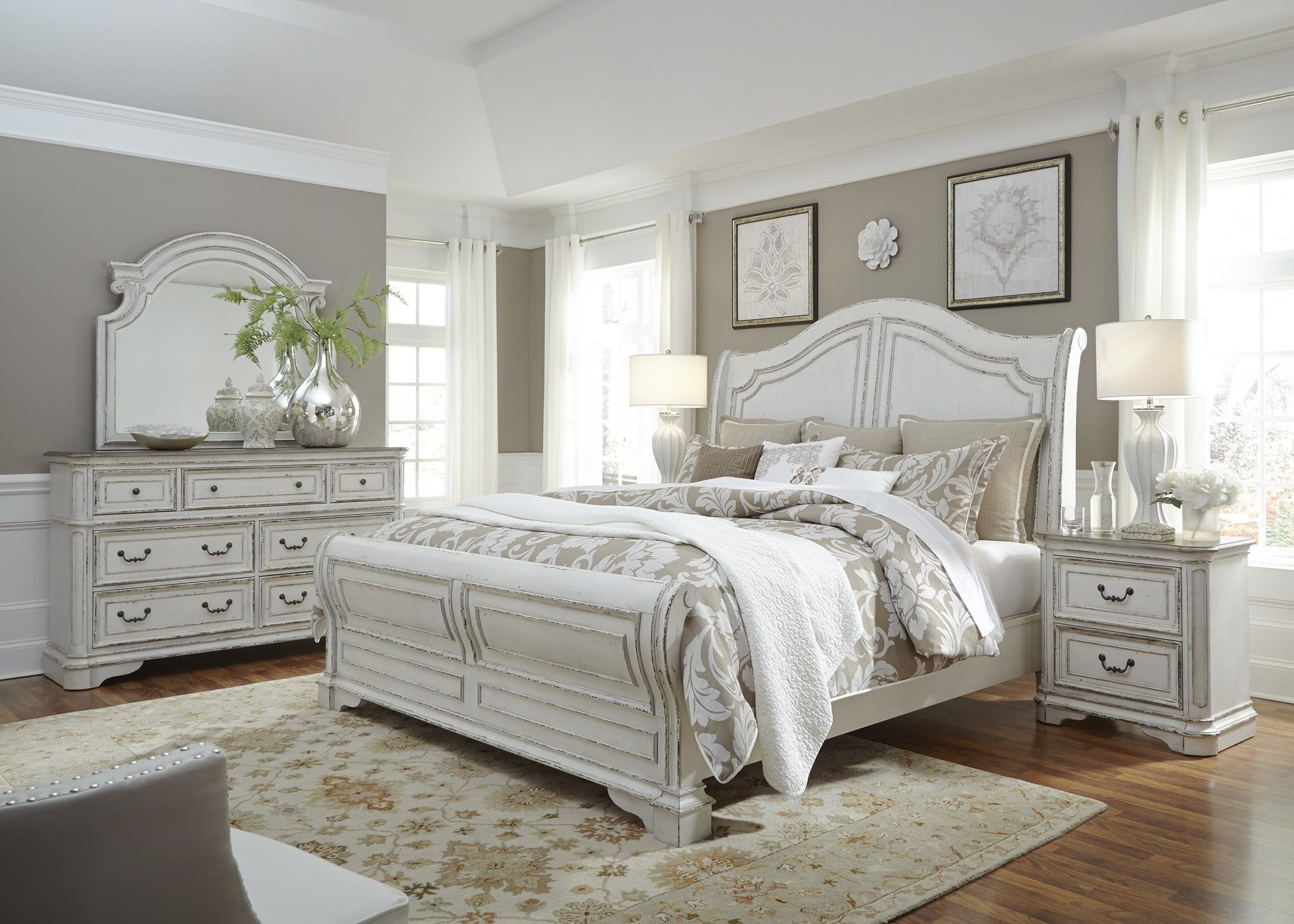 Magnolia Manor Antique White Sleigh Bedroom Set 67 Antique White