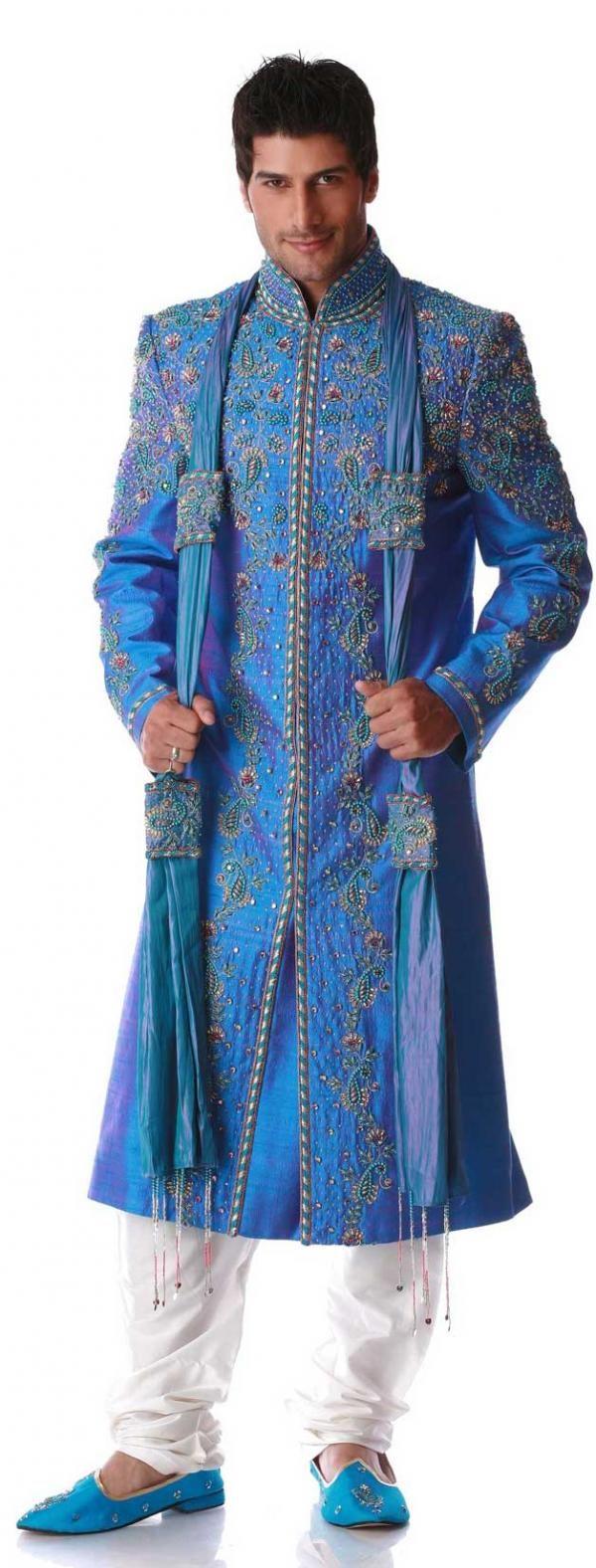 Beige Jaquard Silk Brocade Sherwani (NMK-3613) | Sherwani, Mens ...