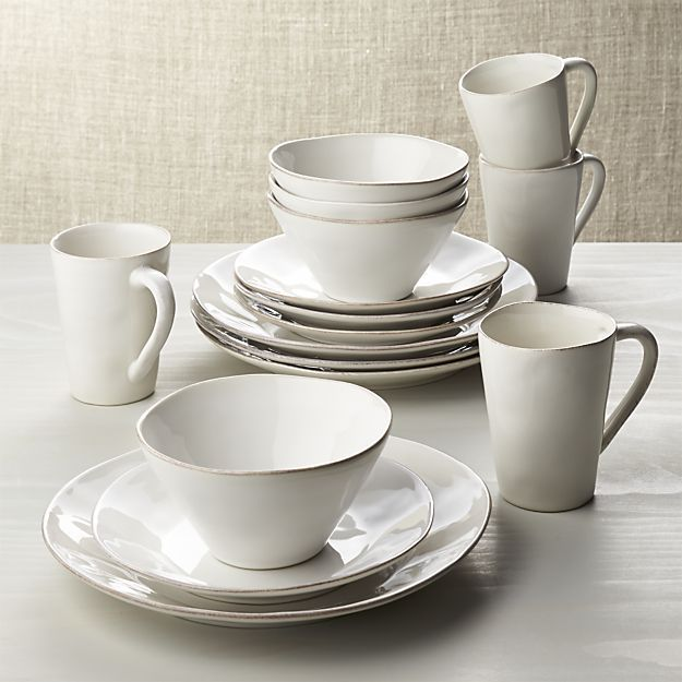 Marin White 16-Piece Dinnerware Set in Dinnerware Collections | Crate and Barrel