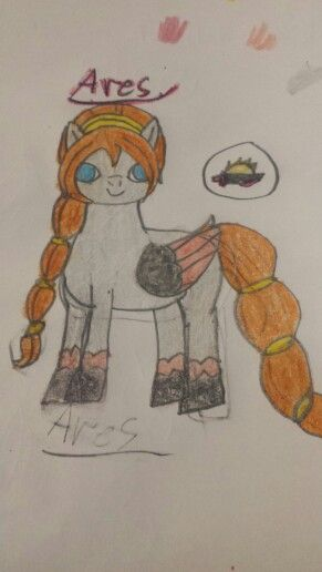 My drawing Ares Daughter Of Rising War... My new OC...She's a Princess but does nothing like a princess she's mainly into fighting and battle many of ponys try to win her heart but they never do well yet...