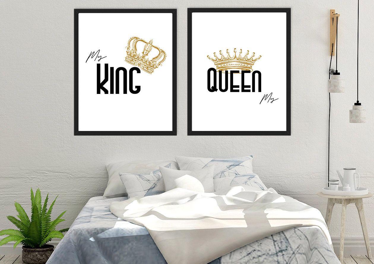 Bedroom Prints Bedroom Wall Art Her King His Queen His /& Hers Print