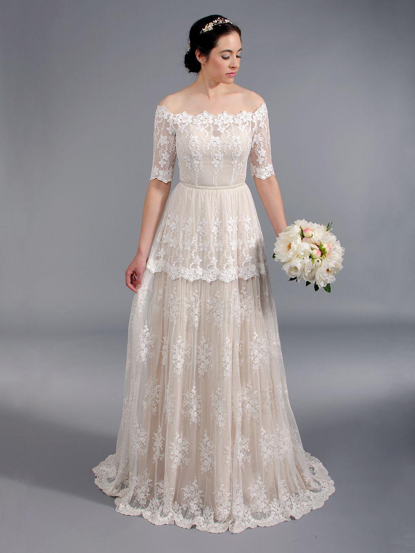 65da70b69f Off shoulder boho lace wedding dress 5004