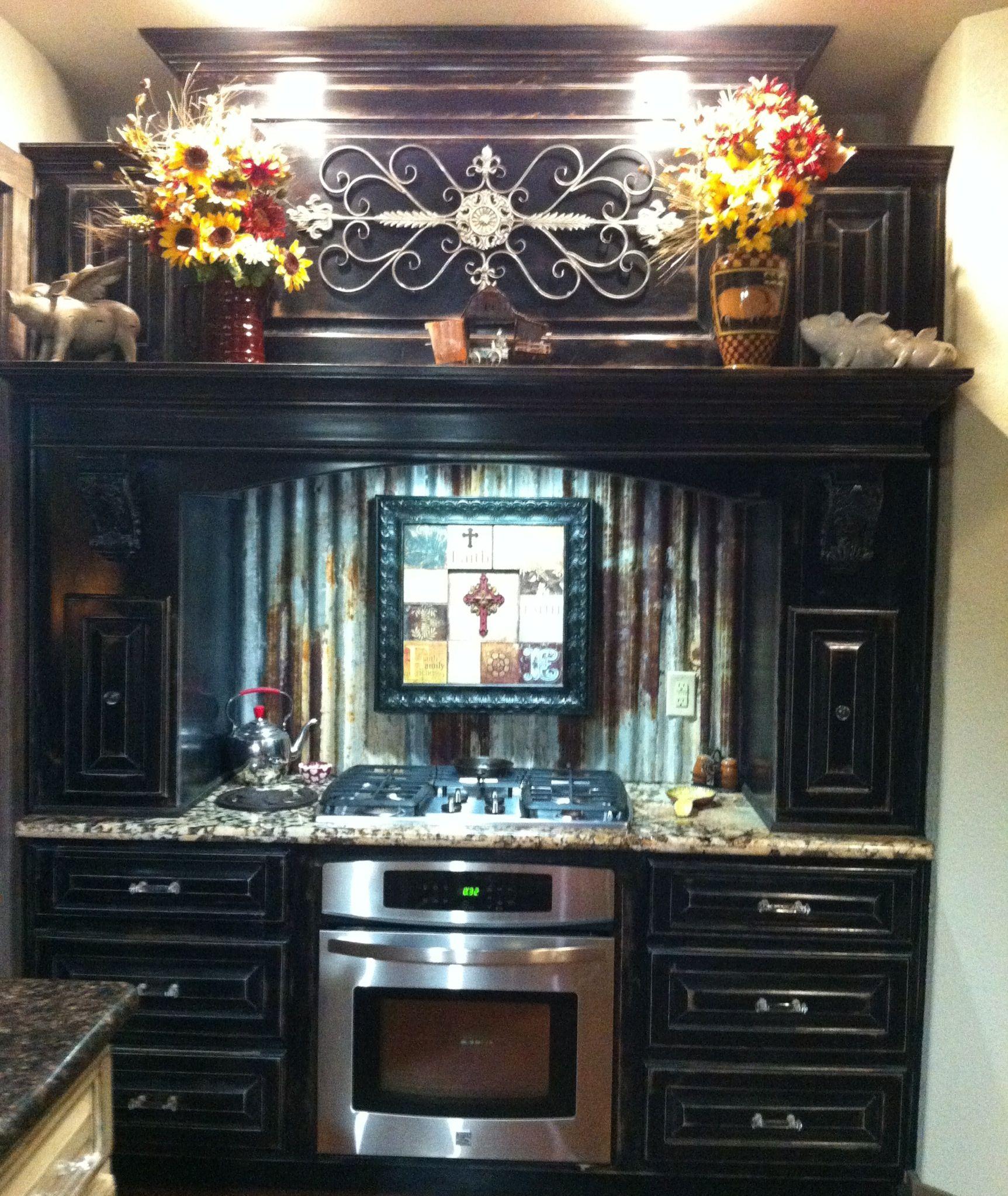 Kitchen Cabinets Distressed: Black Antiqued/distressed Kitchen Cabinets, Old Barn Tin