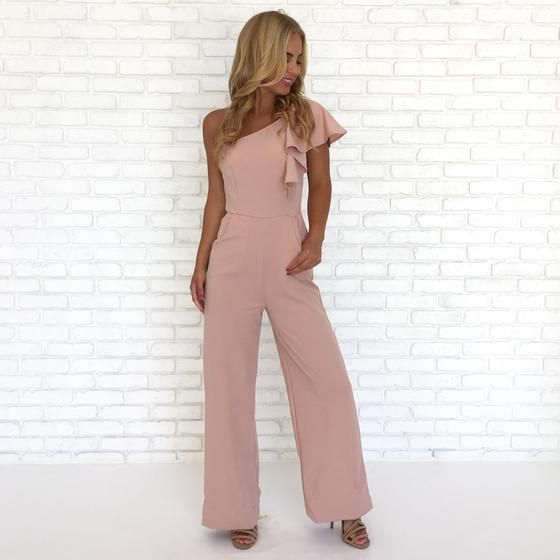 654a5cacd86 Party Time Ruffle One Shoulder Jumpsuit In Pink