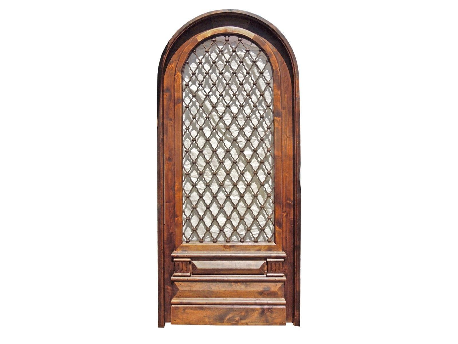 Round top front door window inserts - Amazing Arched Single Door With Wrought Iron Insert And Ready To Install Double Glass Unit For Insulation Hand Forged Hinges On Glass Frame And Door Leaf