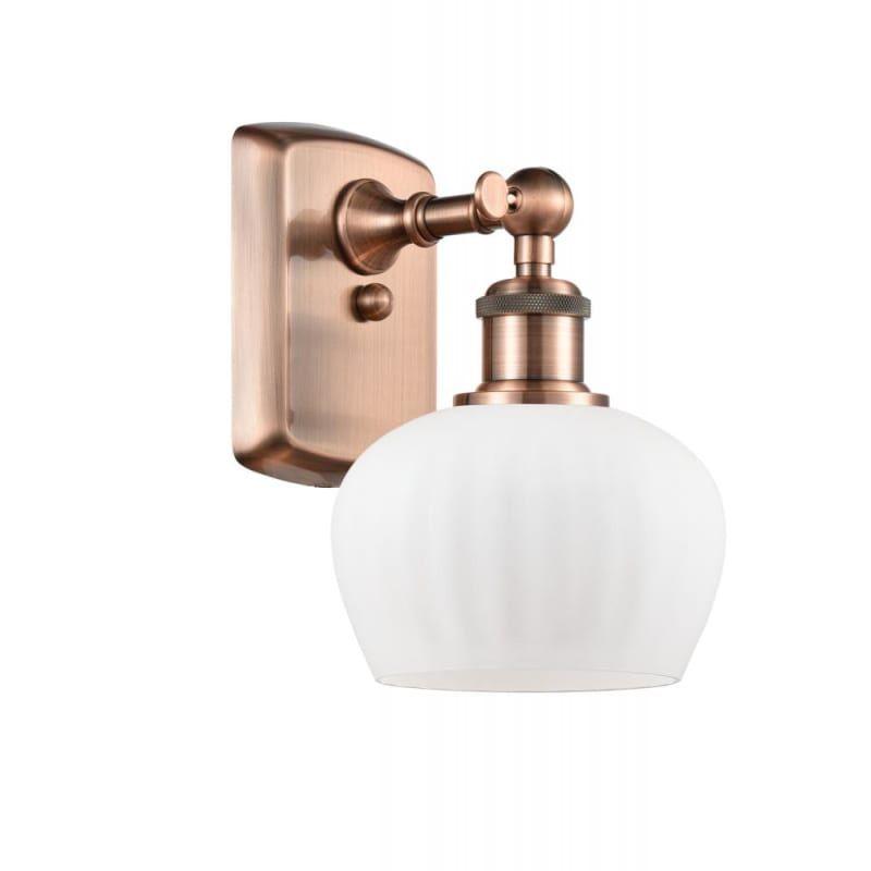 Photo of Innovations Lighting 516-1W Fenton Fenton 11″ Tall Bathroom Sconce Antique Copper / Matte White Indoor Lighting Bathroom Fixtures Bathroom Sconce