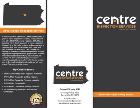 Logo Brochure And Business Card Designs For Centre Inspection Services Business Card Design Business Brochure