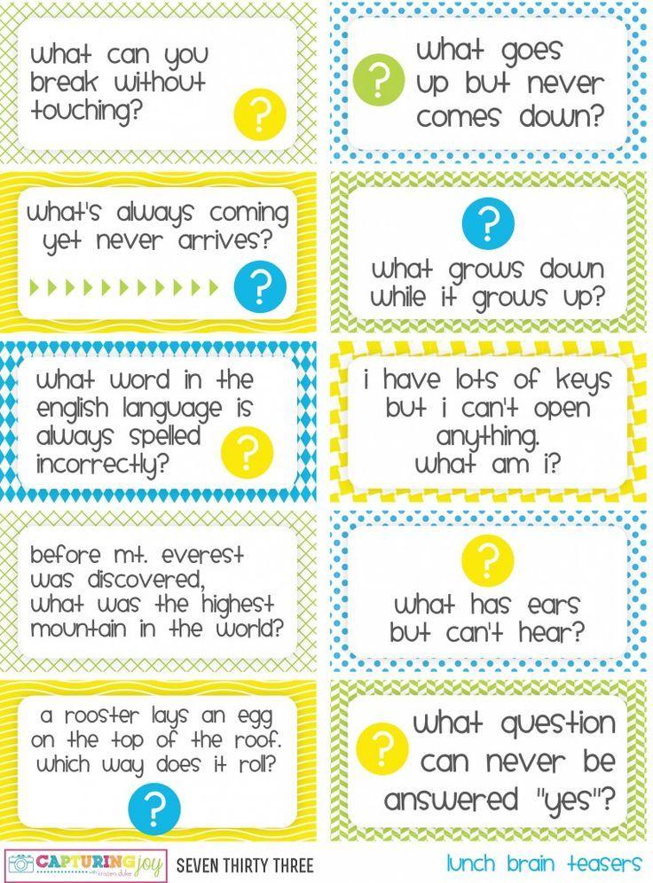 Printable Kids Lunch Jokes and Brain Teasers Jokes for