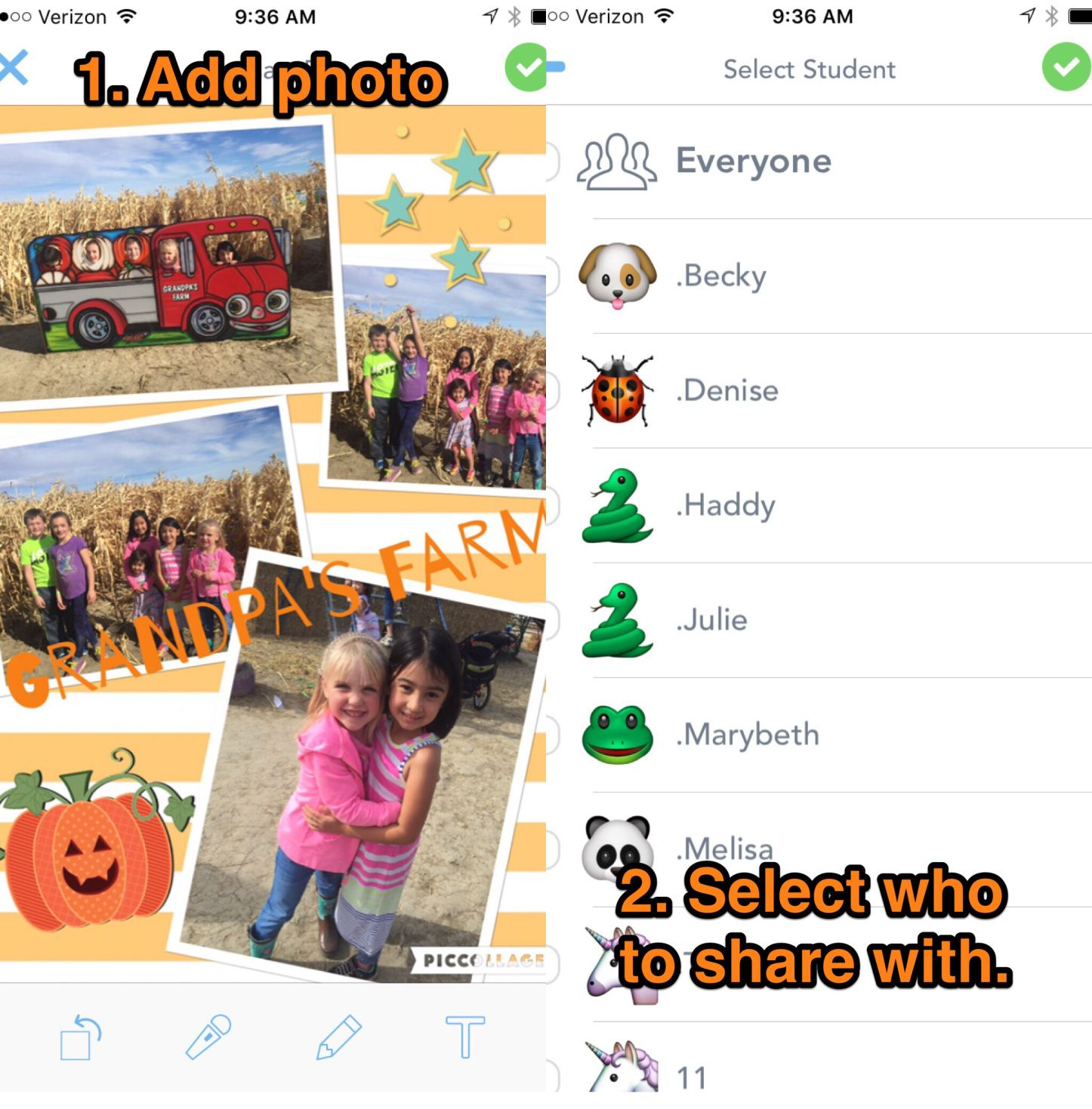 The app Pic Collage pairs well with Seesaw for sharing