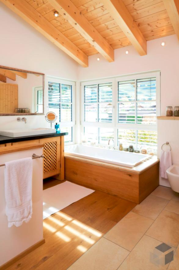 Ein Badezimmer Aus Holz Die Impression Stammt Aus Einem Haus Von
