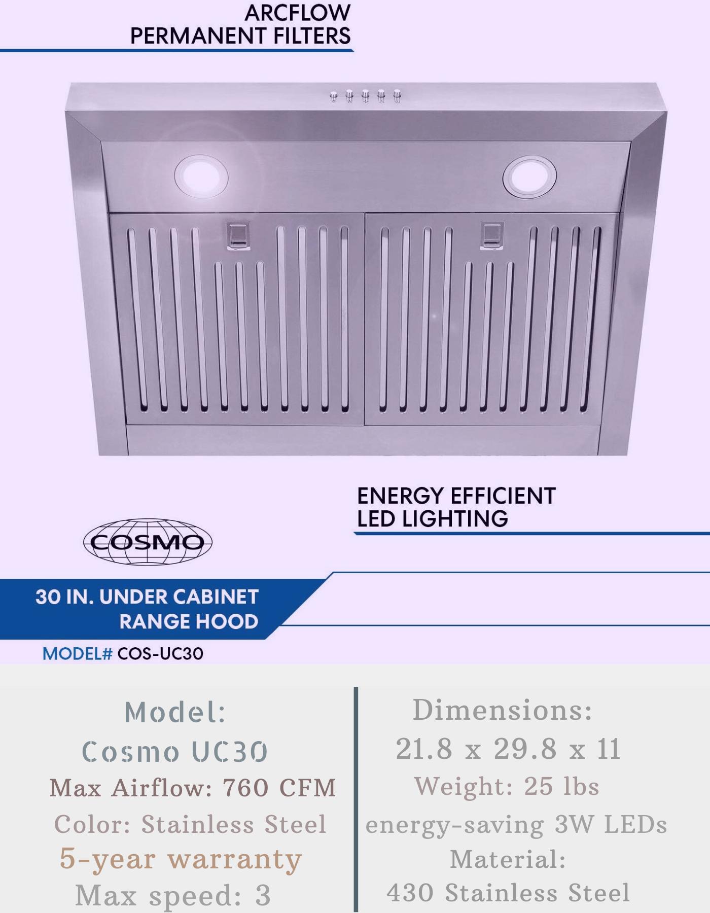 Cosmo Uc30 Cabinet Range Hood Ductless Range Hood Range Hood Reviews Range Hood