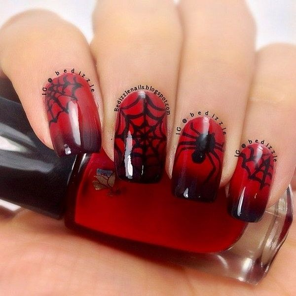 45+ Stylish Red and Black Nail Designs | Halloween nail designs ...
