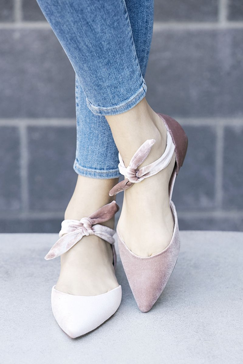 82746f63b48 Pink velvet flats with knotted tie detail and pointed toe