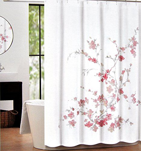 Marvelous Tahari Home Printemps Salmon, Pink And Grey Floral Branch Fabric Shower  Curtain