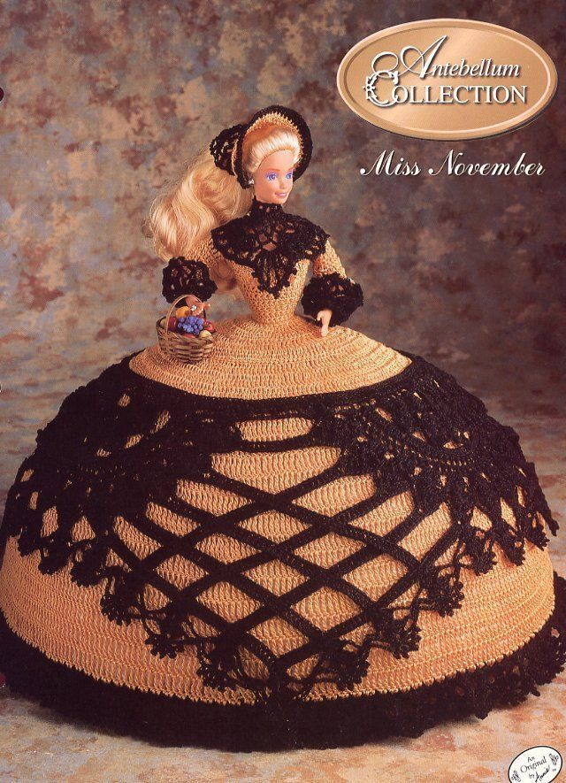 Miss October 1991 Antebellum Bed Doll Outfit fits Barbie Crochet Pattern Leaflet