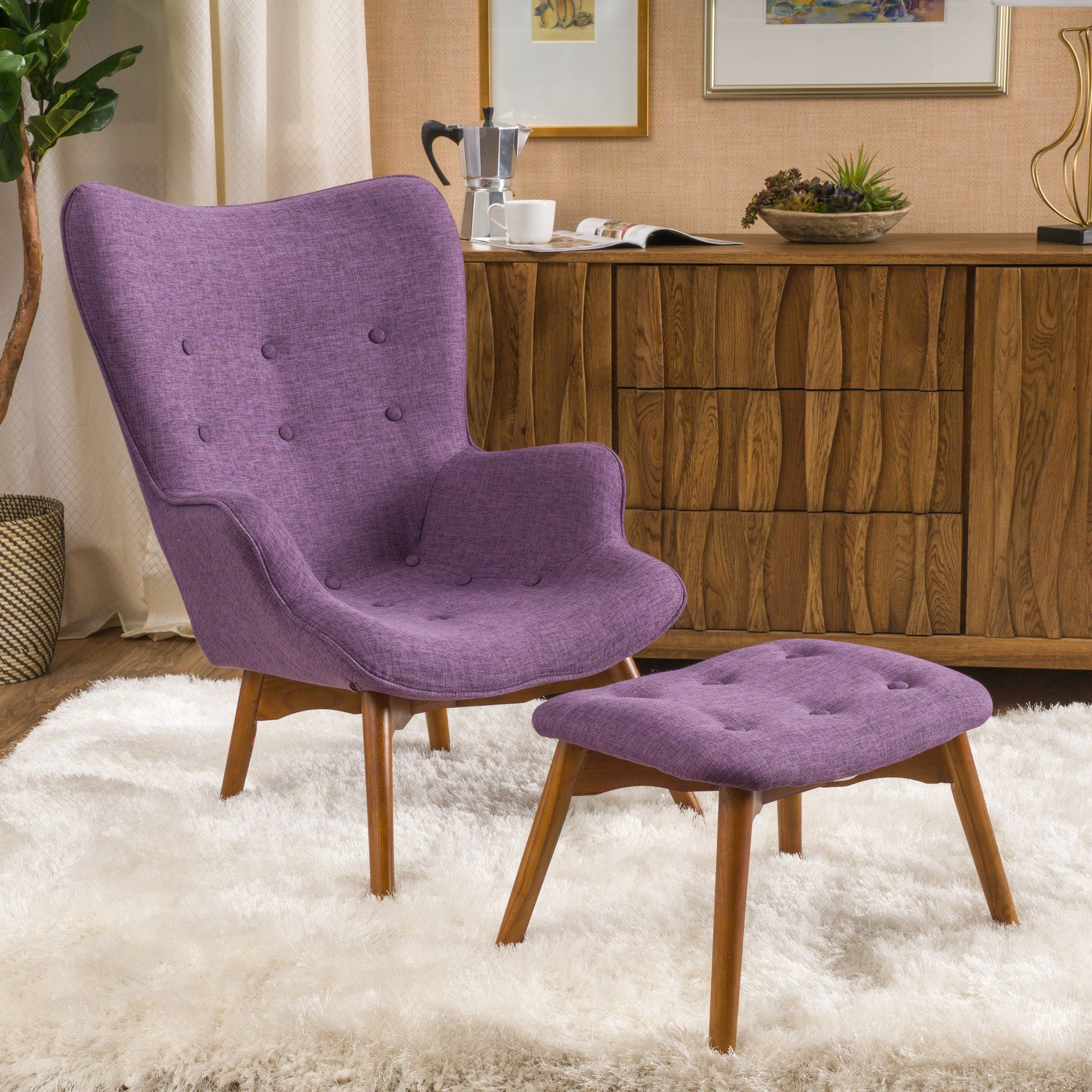 Acantha MidCentury Modern Wingback Fabric Chair and