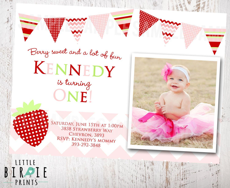 strawberry birthday invitation - HD1500×1224