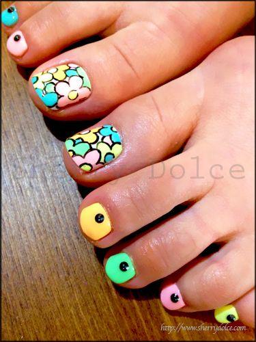 Neon Color Nail Art Pedicure Design Diy Nails Colors