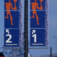 Select outdoor signage applications for 1994 Lillehammer Olympic Games. Designed by Petter T. Moshus.