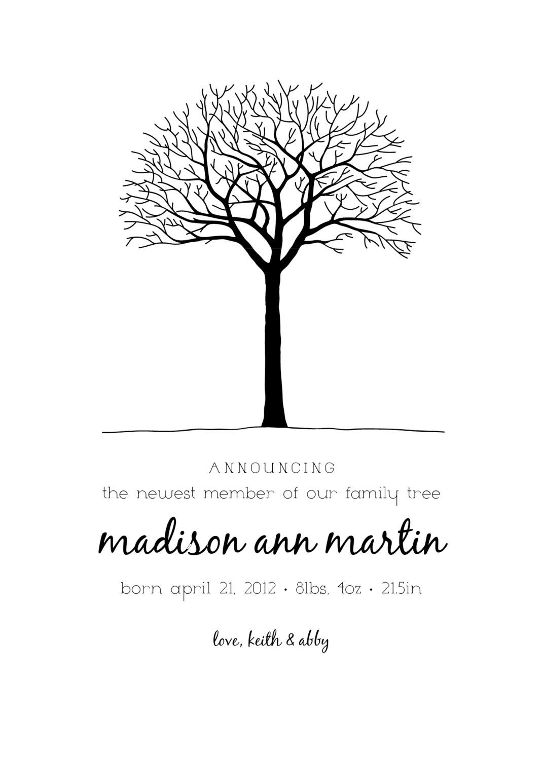 Baby Girl Birth Announcement Printable Family Tree baby girl baby