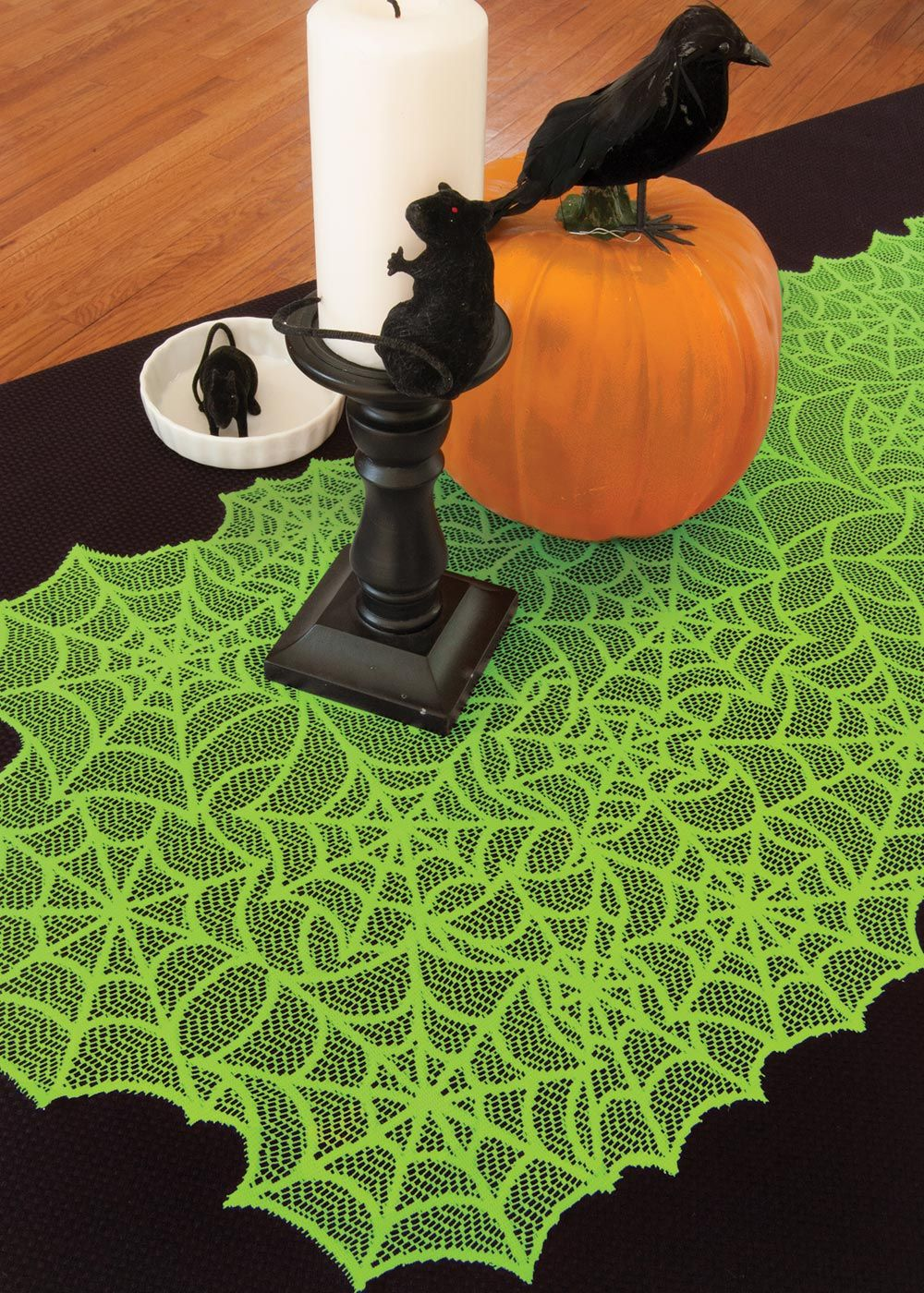 Spider Web Table Runner or Mantle Scarf | Heritage Lace #Halloween #Green #Spiderweb #Table #Decor