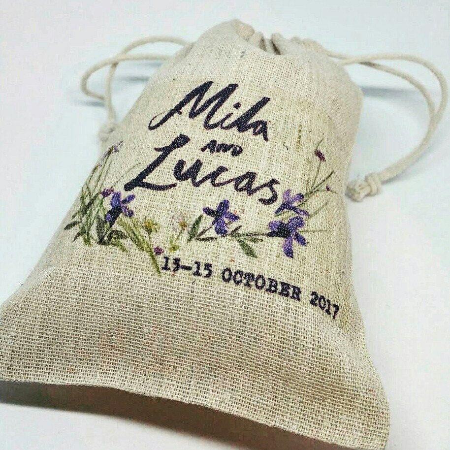 Personalised WEDDING FAVOR BAGS, drawstring bag, personalised burlap ...