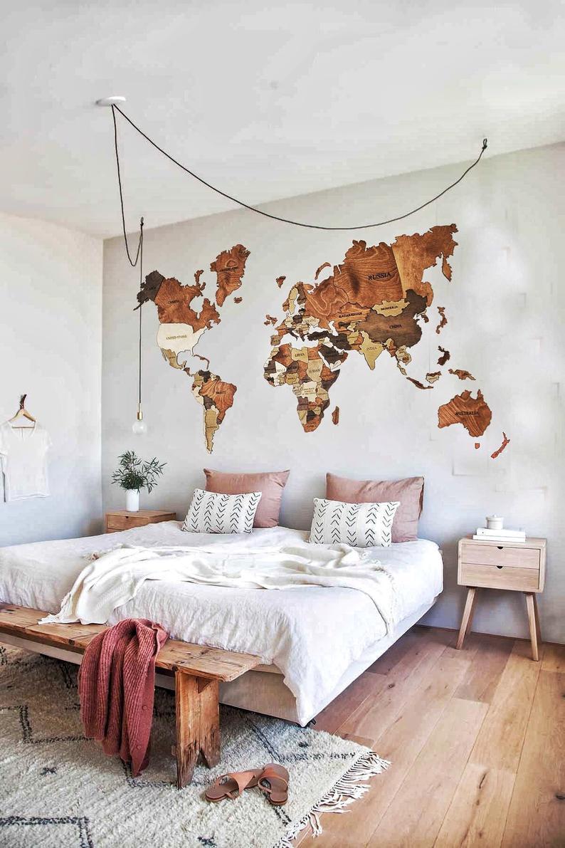 carte du monde decoration murale en bois  Deco chambre
