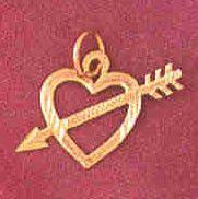 14K GOLD HEART CHARM #3924