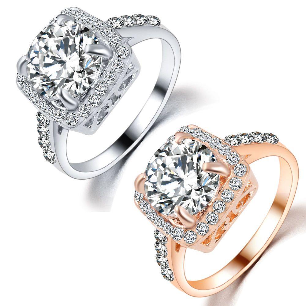 Fashion Wedding Jewelry 18K White Gold GP Cubic Zirconia