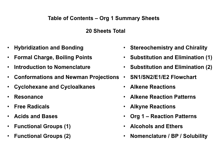 Org 1 Summary Sheets | chemistry | How to memorize things, Chemistry