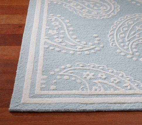 Love this paisley, pale blue rug Pale Blue Nursery Pinterest