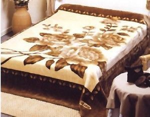 solaron korean blanket thick mink plush throw king size roses new - King Size Blanket