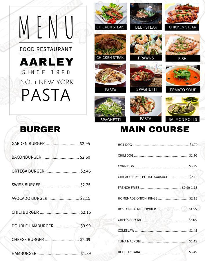 Elegant menu design template. Click to customize. Menu